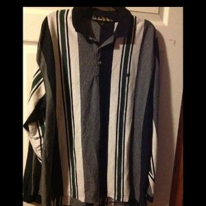Men's sz XL striped long sleeve polo